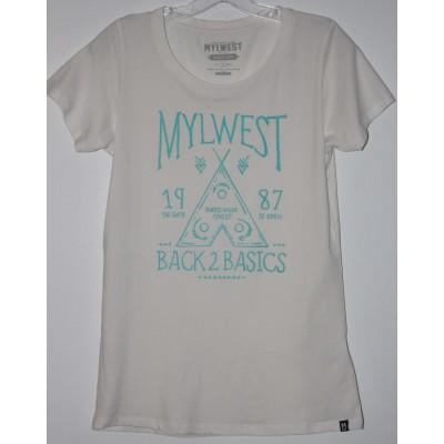 Back -2 Basics- T-Shirt -Blanc-Turquoise
